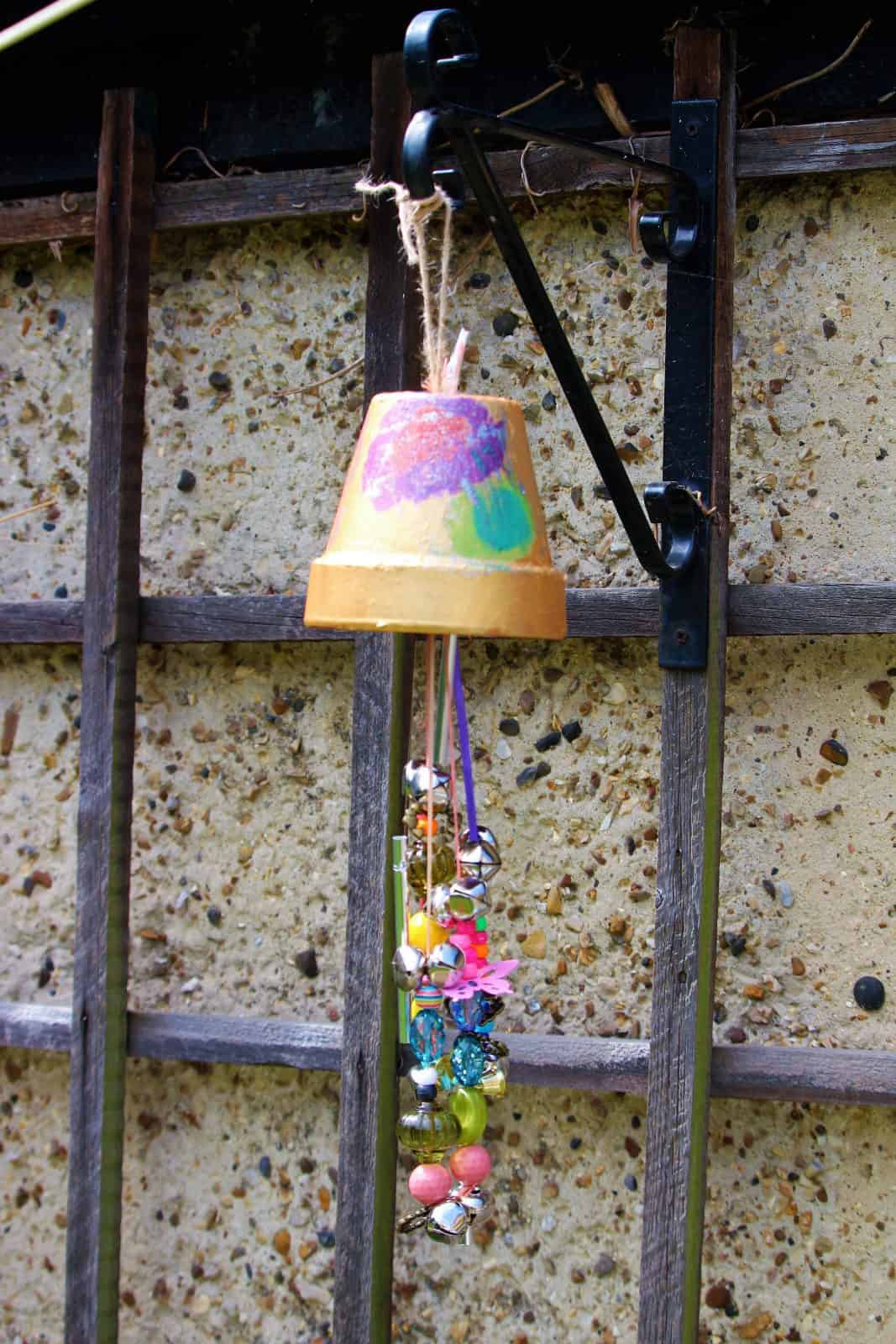 Flower pot wind chime craft for kids