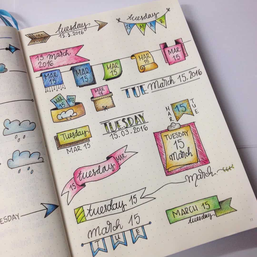 Bullet Journal Headers Colours