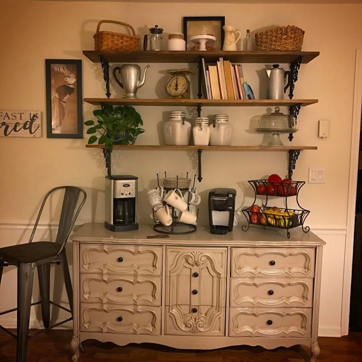 Repurpose an old dresser into a coffee station