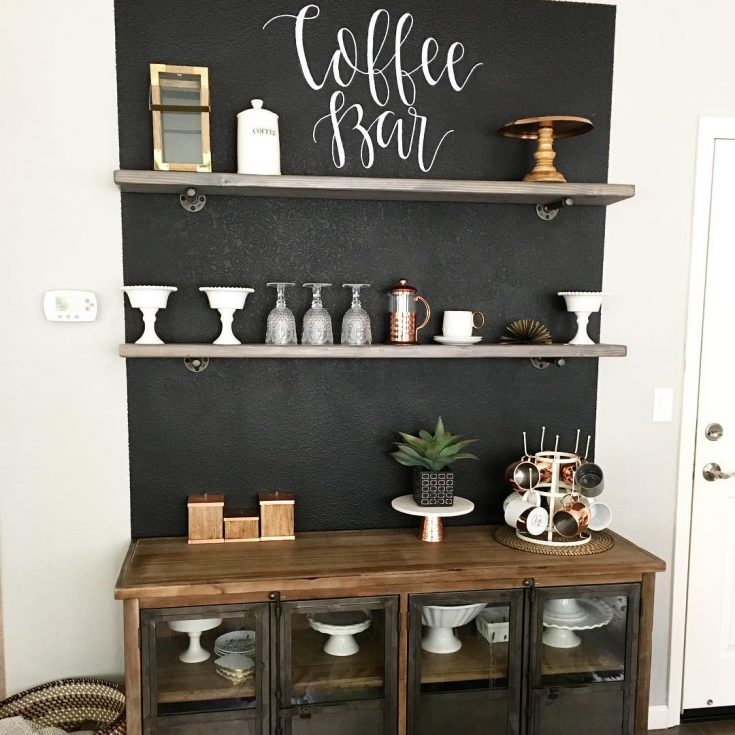 Add a chalkboard wall to your coffee bar
