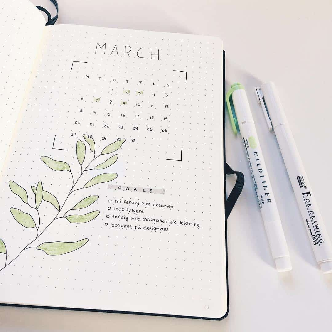 March Cover Page ideas for Bullet Journals