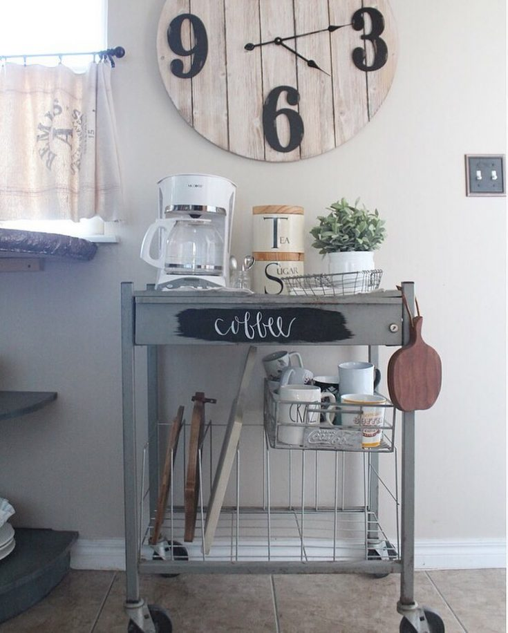 Upcycle an old metal cart into a rolling coffee station