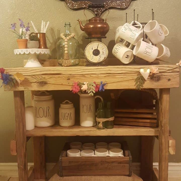 A wooden cart is a great place to set up your coffee bar