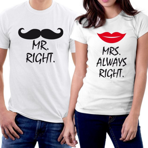 Mr Right Mrs Right Couple T-shirts