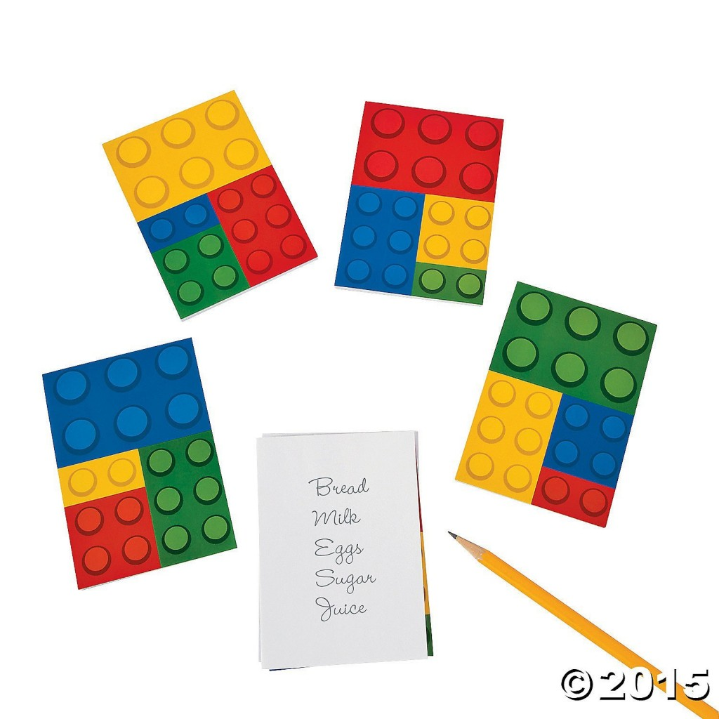 These LEGO inspired notepads are a great addition to any birthday party bag!