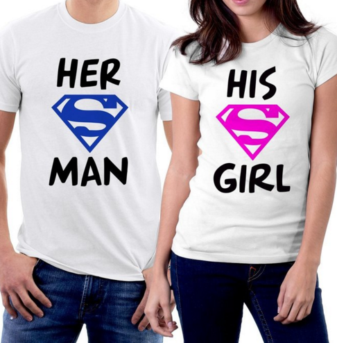 Her Superman His Supergirl Couple T-shirts