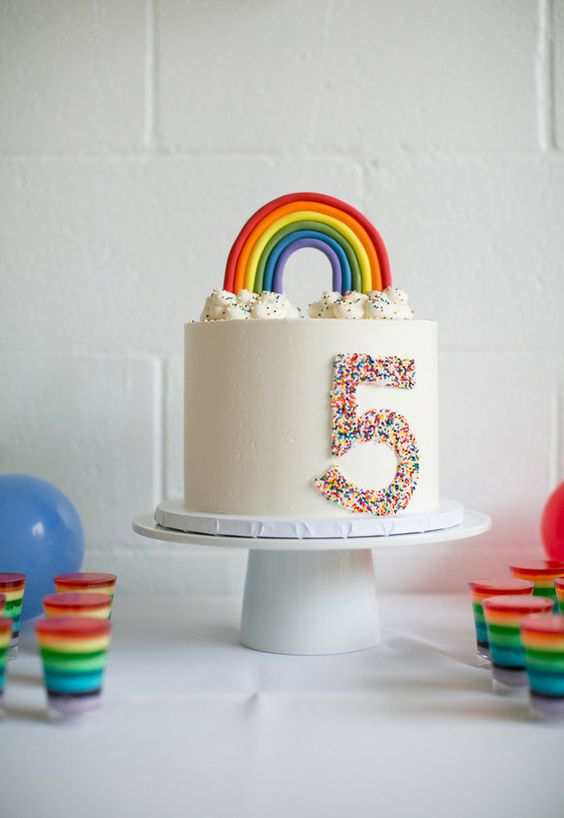 Modern Rainbow Birthday Cake