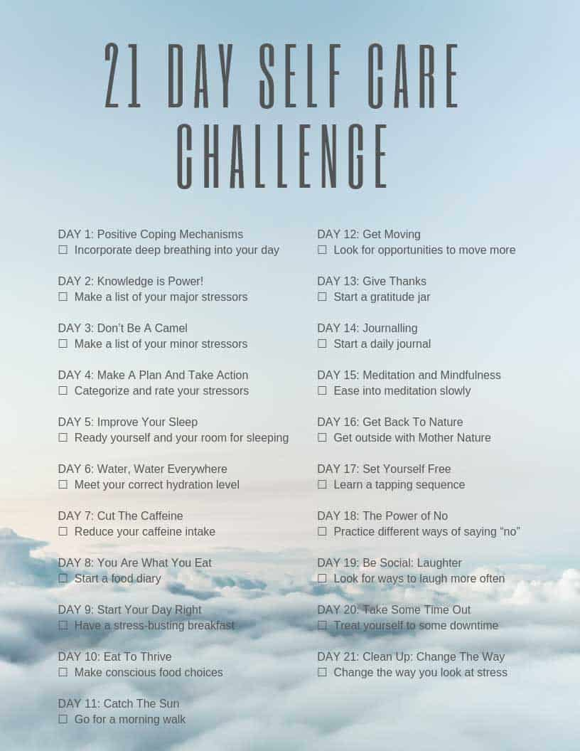 Download your free checklist to help you complete the 21 day self care challenge