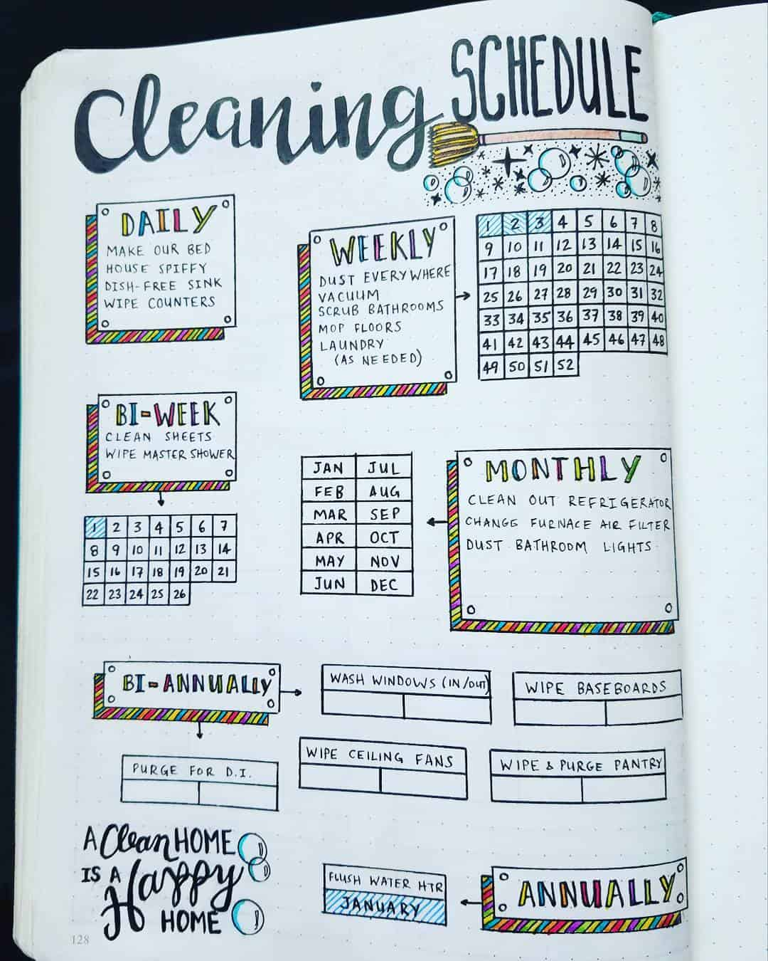 Bullet Journal Cleaning Tracker