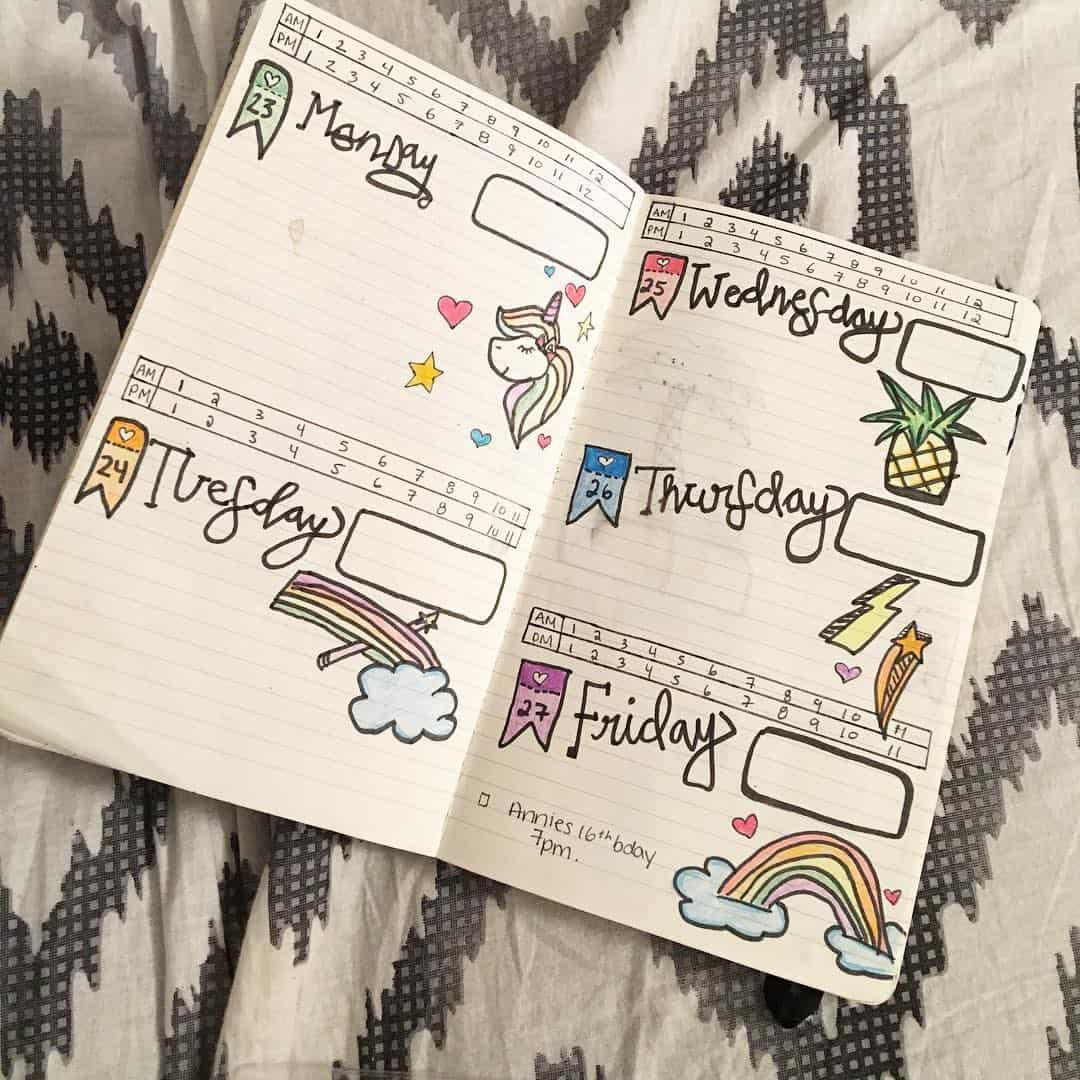 Unicorn Weekly Bullet Journal