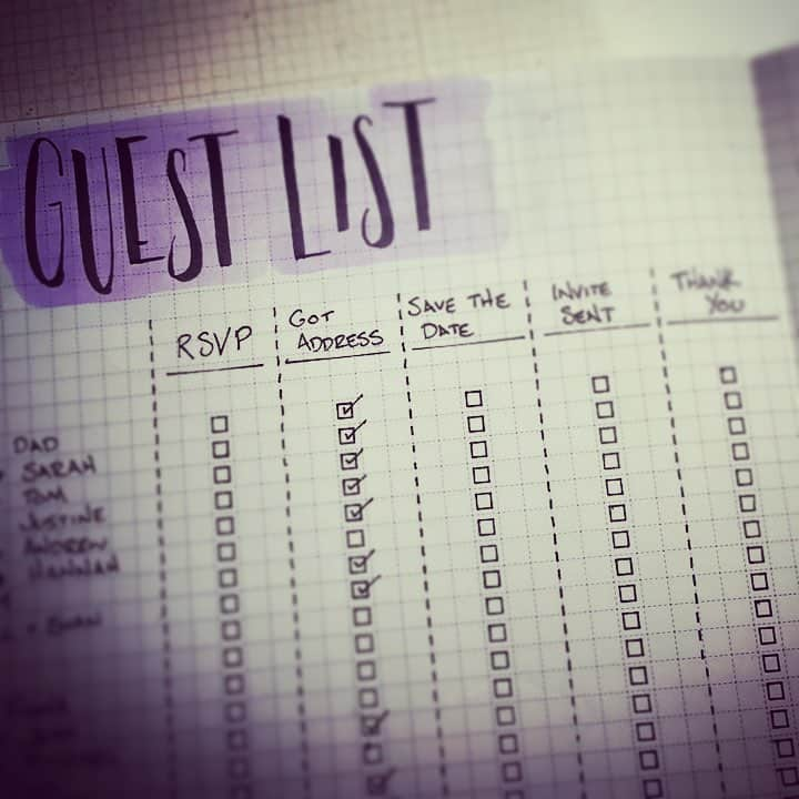 Write out your guest list