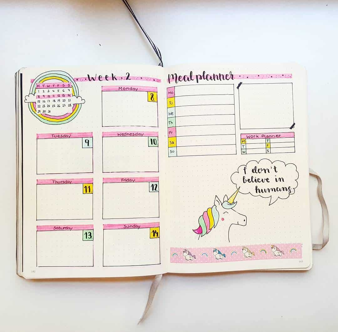 Bullet Journal Unicorn Weekly