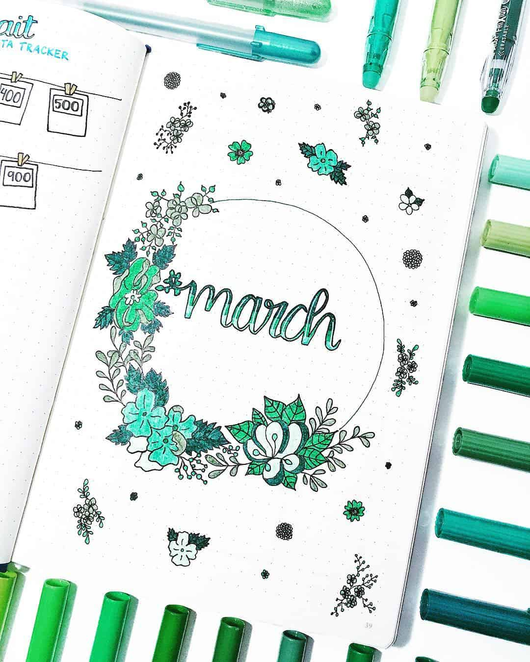 Bullet Journal March Cover Page Inspiration