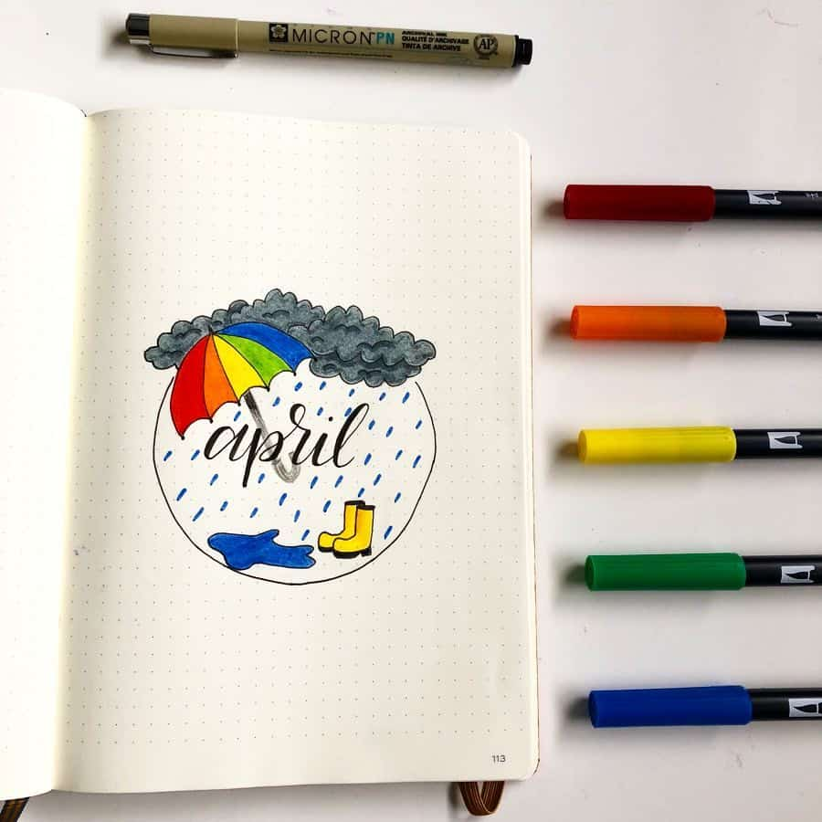 A photo of an Bullet Journal cover page for April which has a rain cloud and rubber boots and a rainbow coloured umbrella.