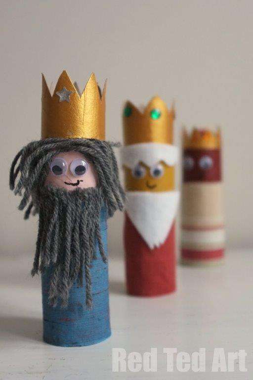 Ha! Love it - the three kings made out of toilet paper rolls!