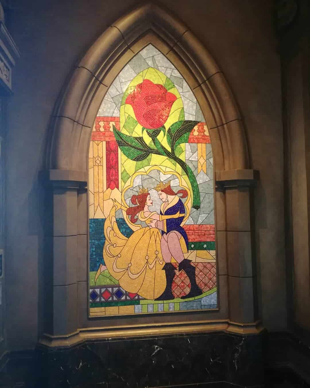 Beautiful stained glass window at Disney's Be Our Guest restaurant