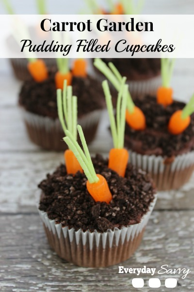 Pudding Filled Carrot Garden Cupcakes