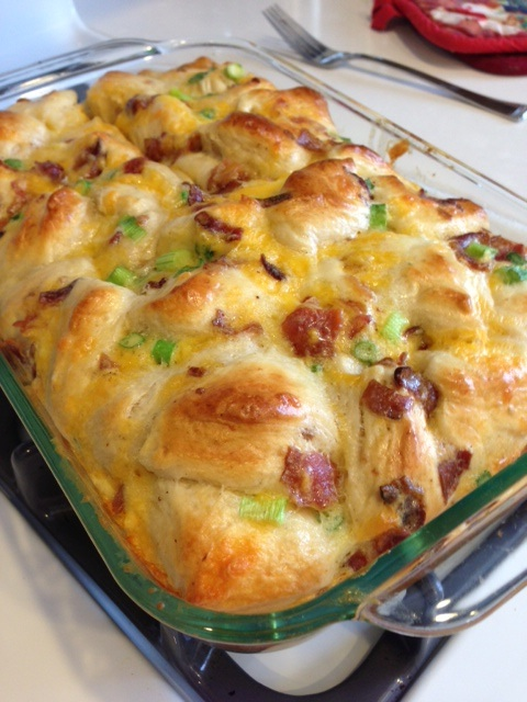 Comfort Bake – This comfort bake is filled with breakfast biscuits and scallions for a really filling breakfast.