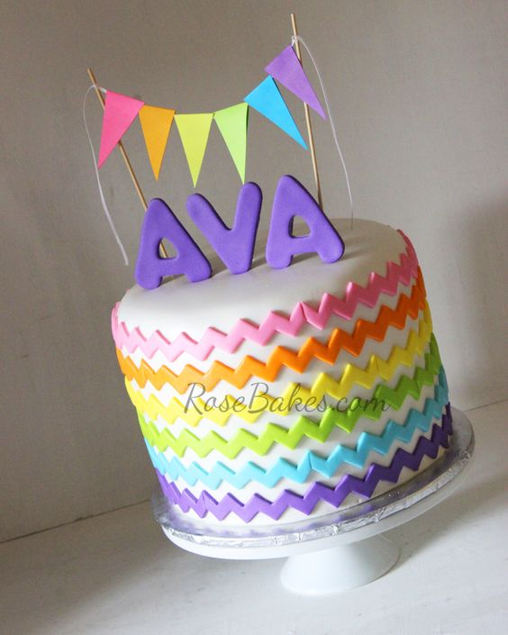 Rainbow Chevron Cake With Bunting Flags