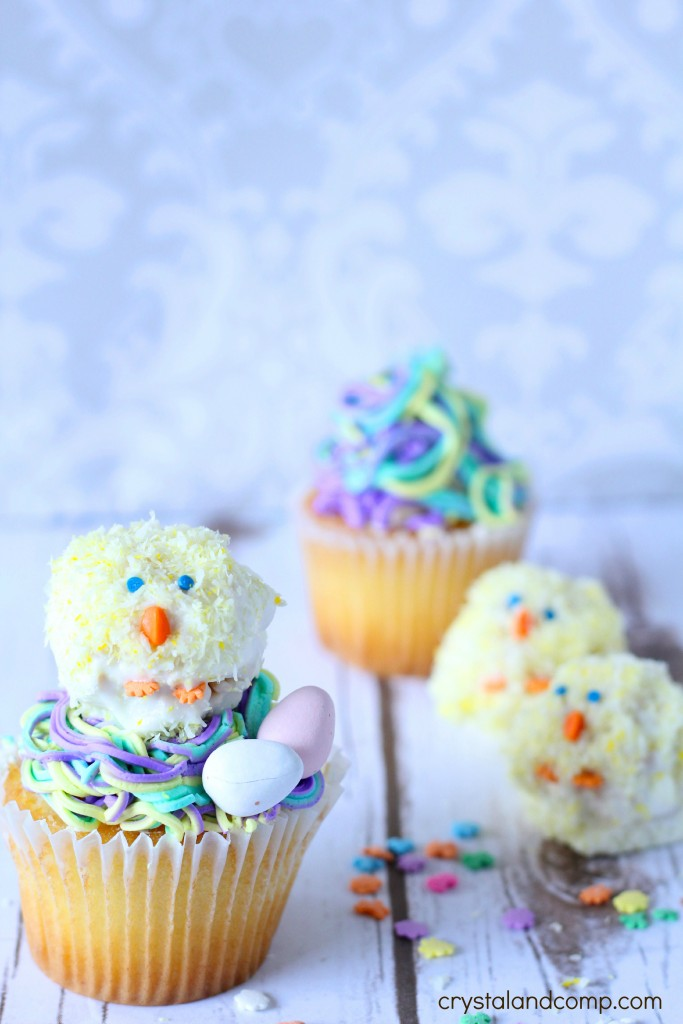 Easter Chick Krispie Treat Cupcakes