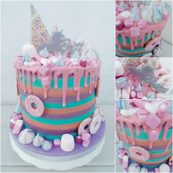 Unicorn Rainbow Striped Buttercream Birthday Drip Cake With Sweets
