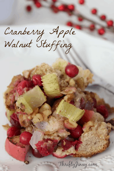 Whether you call it stuffing or dressing this brightly coloured Cranberry Apple Walnut stuffing is brightly colours and chock-full of fruits and vegetables. It will make such a beautiful side dish you'll be making it again for Christmas.