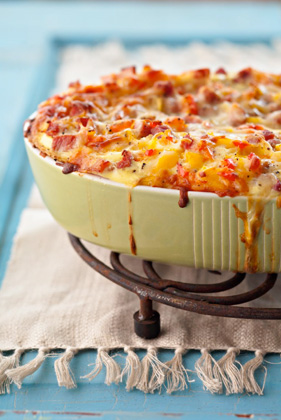 Jamie's Breakfast Casserole with Ham and Cheese - I love how this recipe has the toast right there within the layers of the casserole.