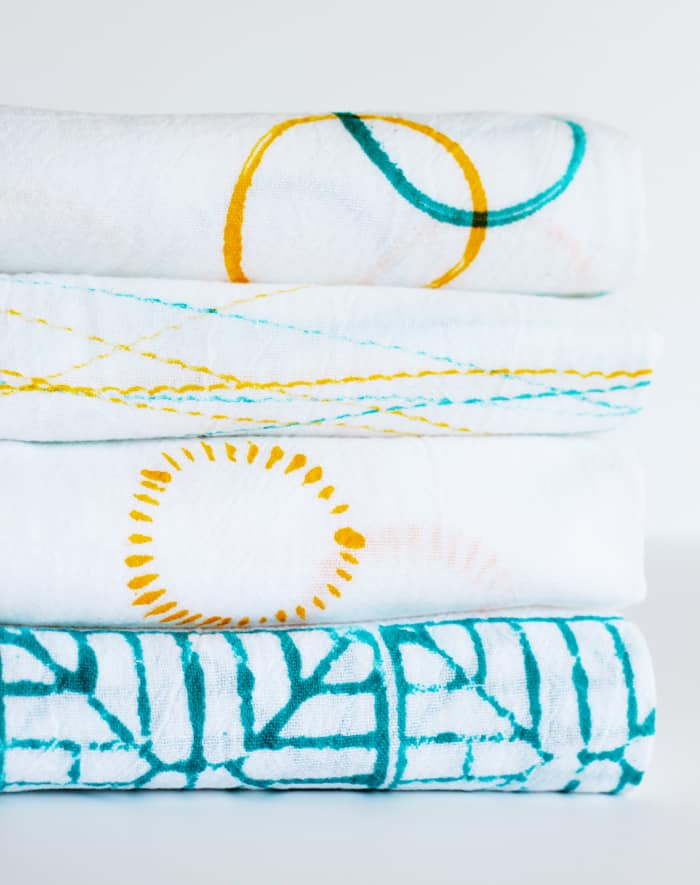 DIY Stamped Dish Towels