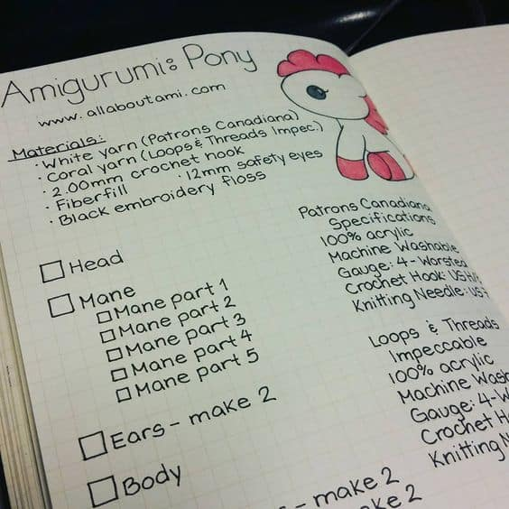 Make an amigurumi checklist