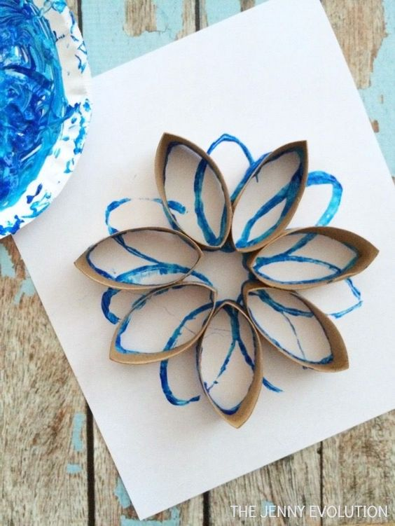 My kiddos LOVE toilet paper crafts so we HAVE to make these snowflakes!