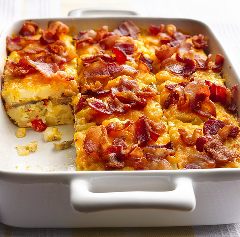 Bacon and Hash Brown Egg Bake - How about bacon and hash browns? If that's a favourite breakfast combination then this could be the breakfast casserole recipe for you.