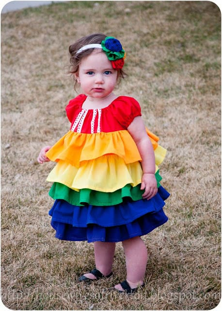 A Rainbow Ruffle Dress