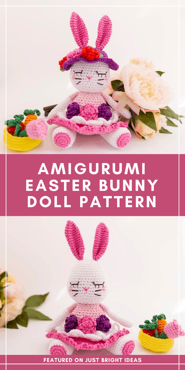 Follow the crochet pattern to make this super sweet amigurumi Easter bunny - she'll make a wonderful handmade gift! #easter #crochet