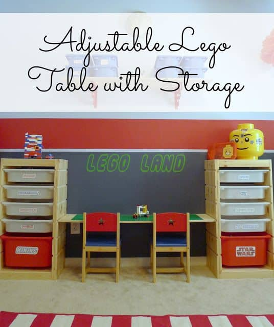 Adjustable Lego table with storage