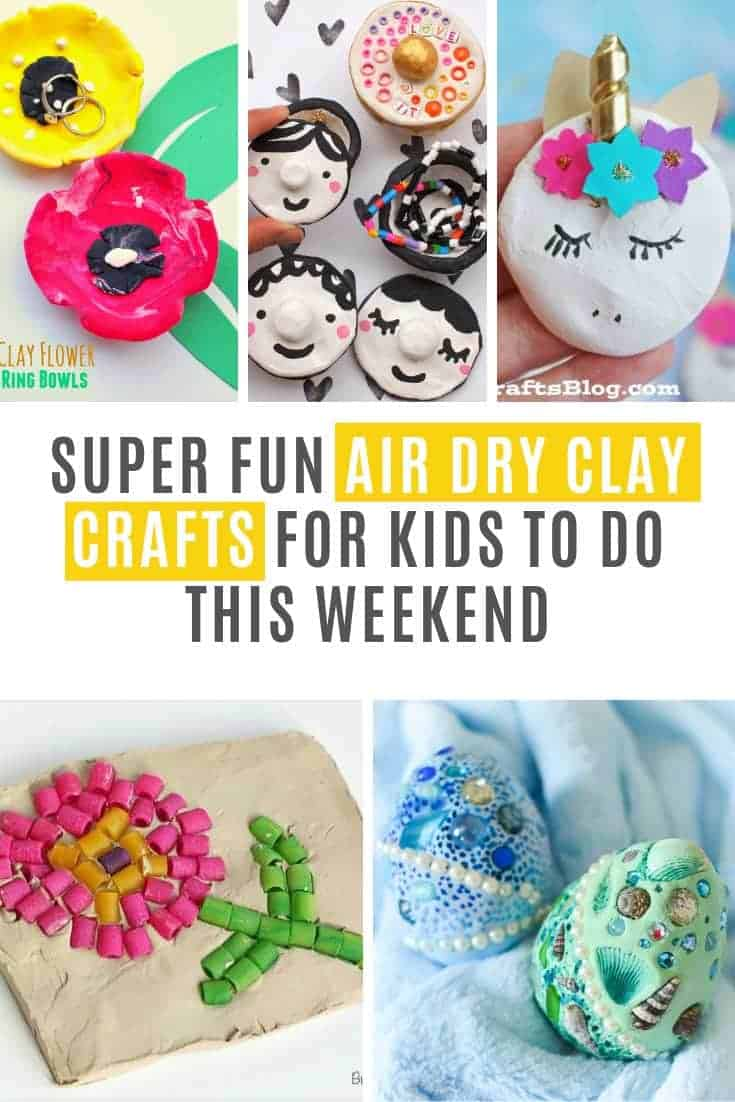 These Air Dry Clay Projects are super fun for kids of all ages. From pinch pots and fridge magnets to dragon eggs and unicorns! Fun rainy day projects!