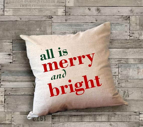 All is Merry and Bright Farmhouse Pillow