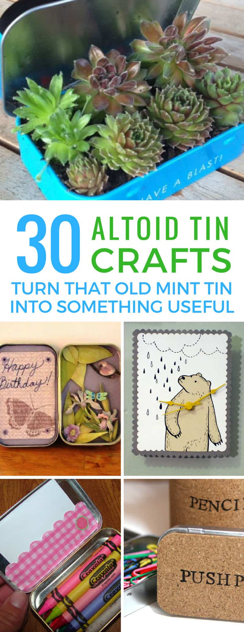 Who knew there were so many cool altoid tin crafts to make from an empty mint tin! Love that succulent garden!