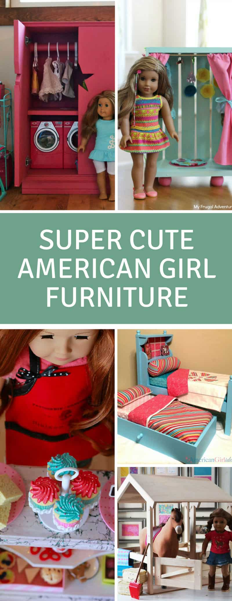 American Girl DIY Furniture - so many brilliant ideas here for making your own American Girl furniture so it doesn't break the bank! Fits any 18 inch doll really! #DIY #toys #AmericanGirl