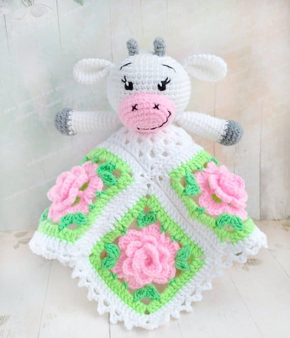Amigurumi Cow Snuggle Toy Blanket Crochet Pattern