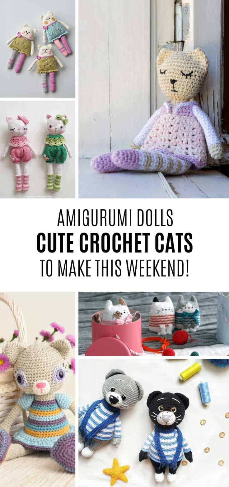 Cute amigurumi crochet cat doll patters to add to your list!