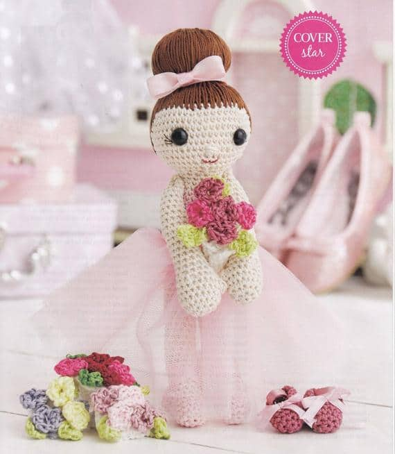 Amigurumi Ballerina with Flowers and Ballet Pumps