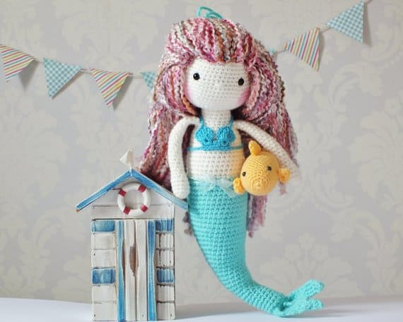 Amigurumi mermaid and fish pattern