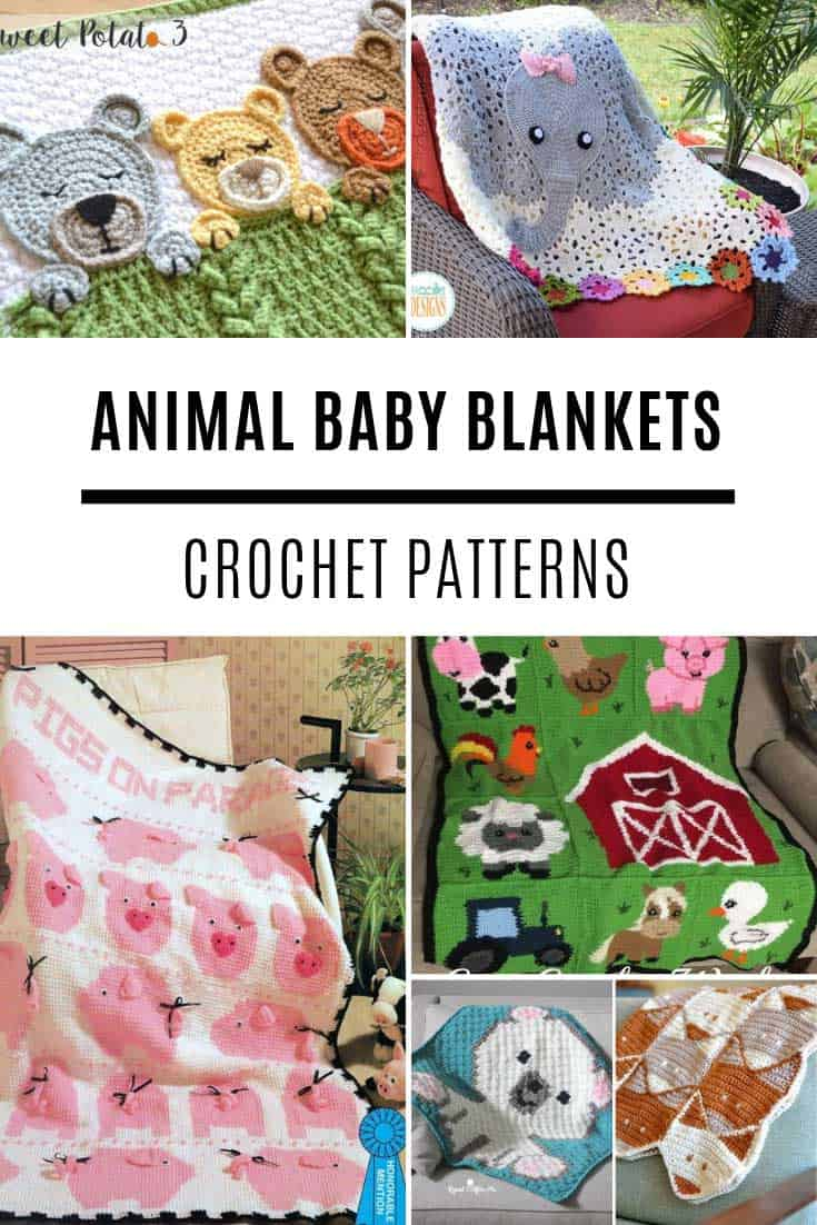 Loving these animal crochet baby blanket patterns - they're so stinking CUTE!