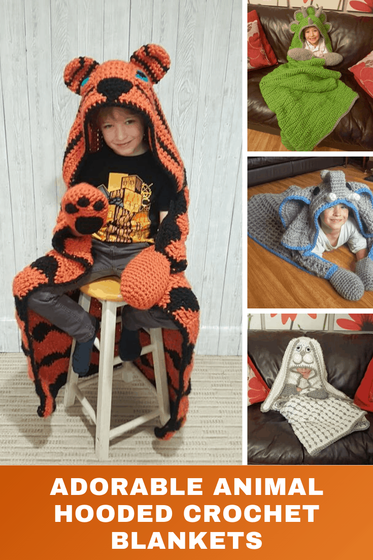 How CUTE are these animal hooded crochet blankets! They're easy to hook and your family will love them!