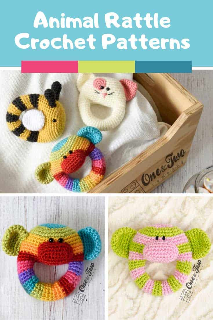 Loving these Animal rattle crochet patterns - perfect baby shower gift!