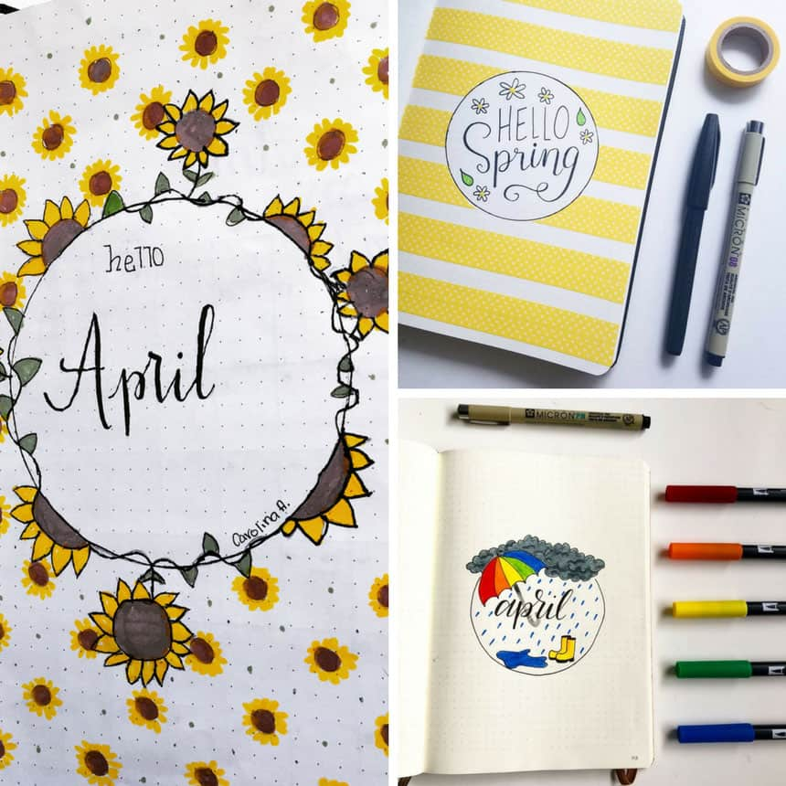 A photo collage of three different April cover pages for a bullet journal
