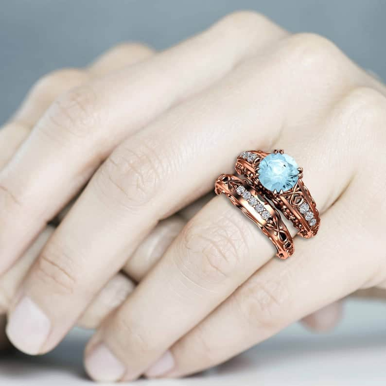 Handmade Art Nouveau Aquamarine Engagement Ring Set
