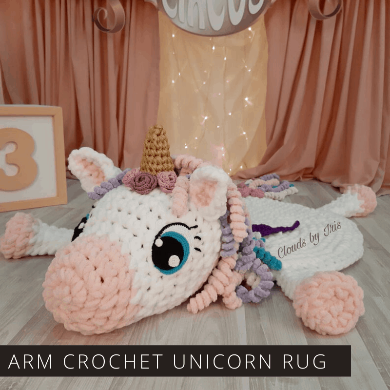 Oh my! Did you ever see anything so magical as this unicorn rug? It's perfect for your nursery or play room - and it's a relaxing arm crochet project!