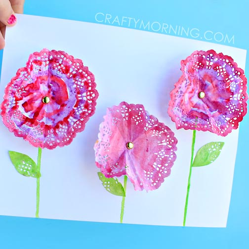 3D Doily Flowers (Spring Craft for Kids)