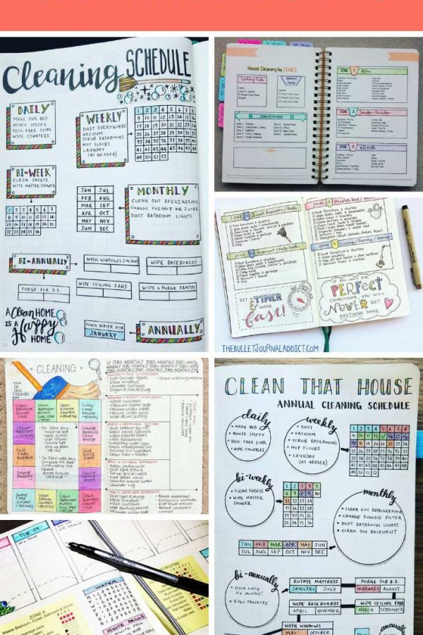 These BUJO cleaning schedules should help me get the chores under control!